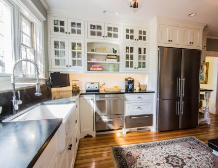 Created a built-in hutch that truly honored the Greek Revival period