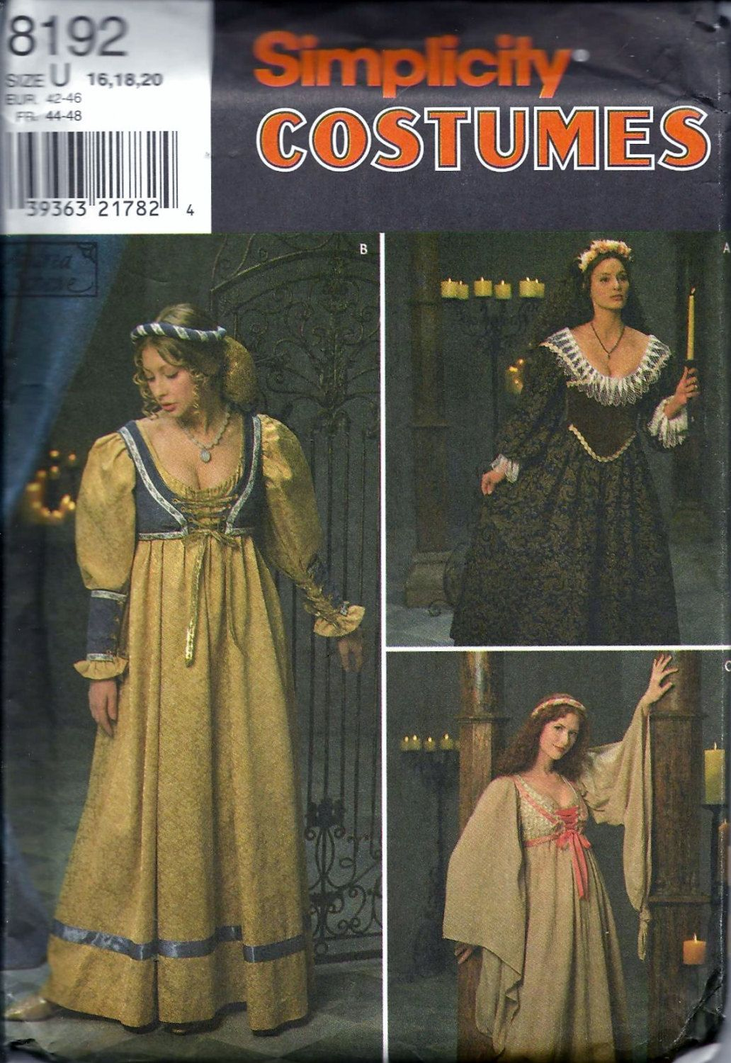 Simplicity 8192 Pattern Misses Renaissance Medieval Gown Dress ...