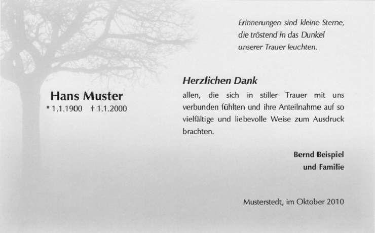 Trauerkarte Dank Baum Nebel Erinnerung Sterne Spruche Zum Danke Sagen Trauer Danksagungen Trauer