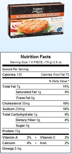 Trident Seafoods Salmon Burgers Gluten Free Nutrition Costco Grain Free Diet Salmon Burgers Nutrition
