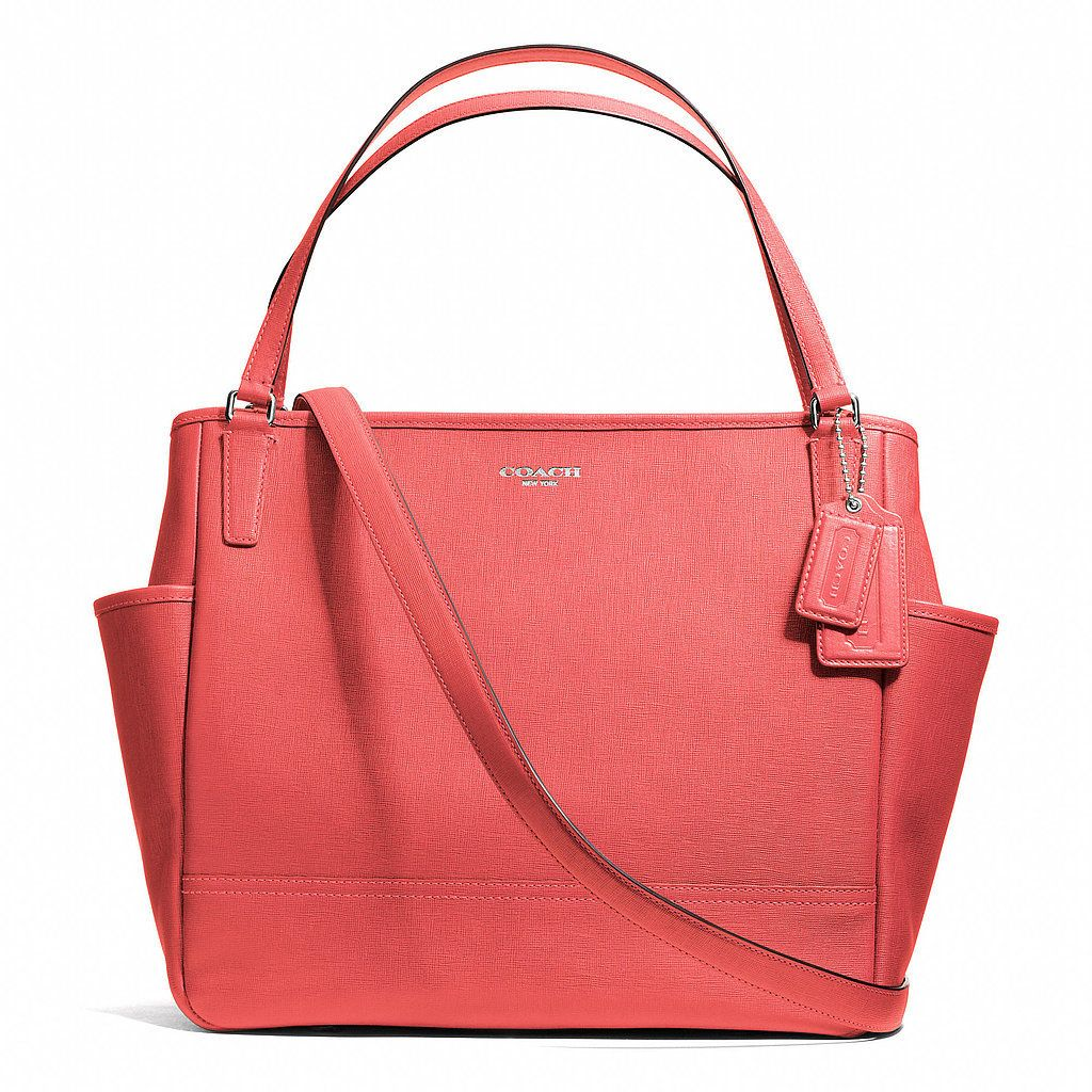 coach baby bag tote in saffiano leather clever design and coral color. Black Bedroom Furniture Sets. Home Design Ideas