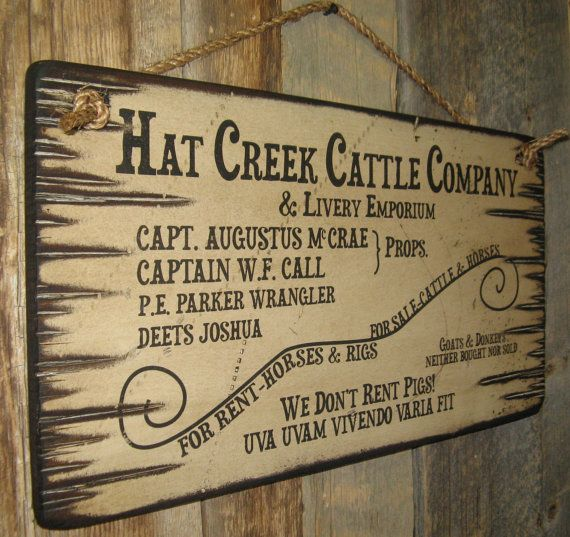 Hat Creek Cattle Company Livery Emporium Lonesome Dove Sign Western Antiqued Wooden Sign Hat Creek Cattle Company Lonesome Dove Sign Wooden Signs