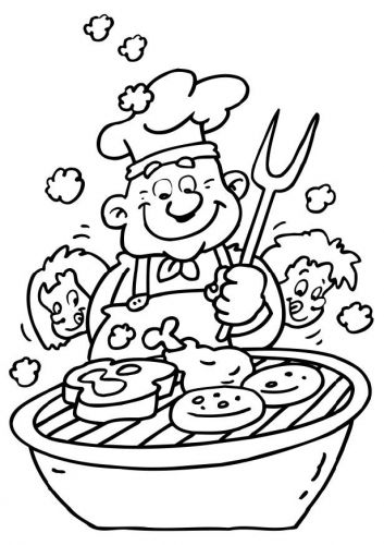 Coloring Page Barbeque Coloring Pages Coloring Books Birthday Cards For Men