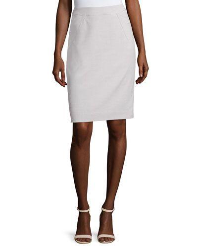 Pencil Suiting Skirt, Zinc/Ivory