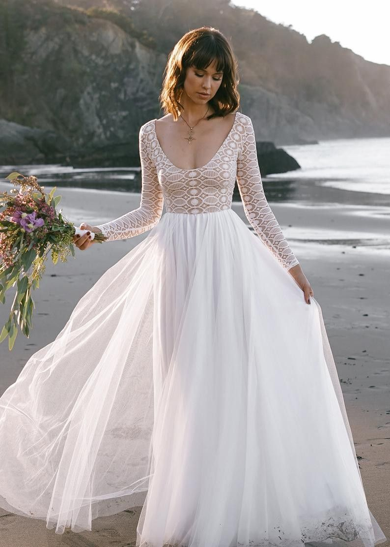 32++ Scoop neck wedding dress with sleeves info