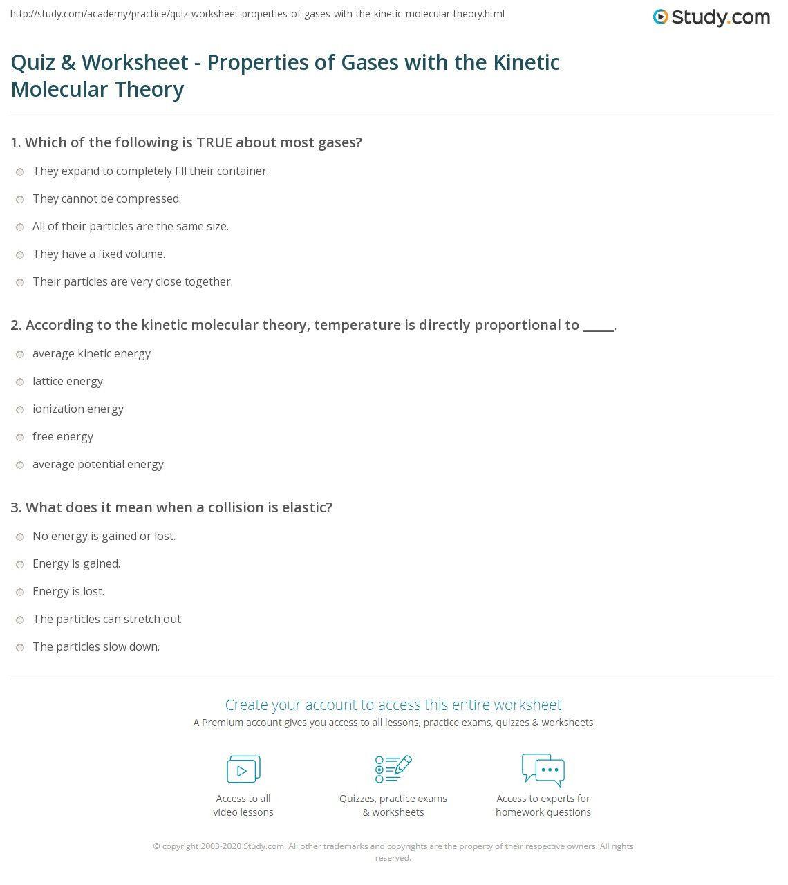 Kinetic Molecular Theory Worksheet In