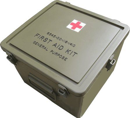 US GI Large First Aid Kit Box - Genuine U S  issue red cross