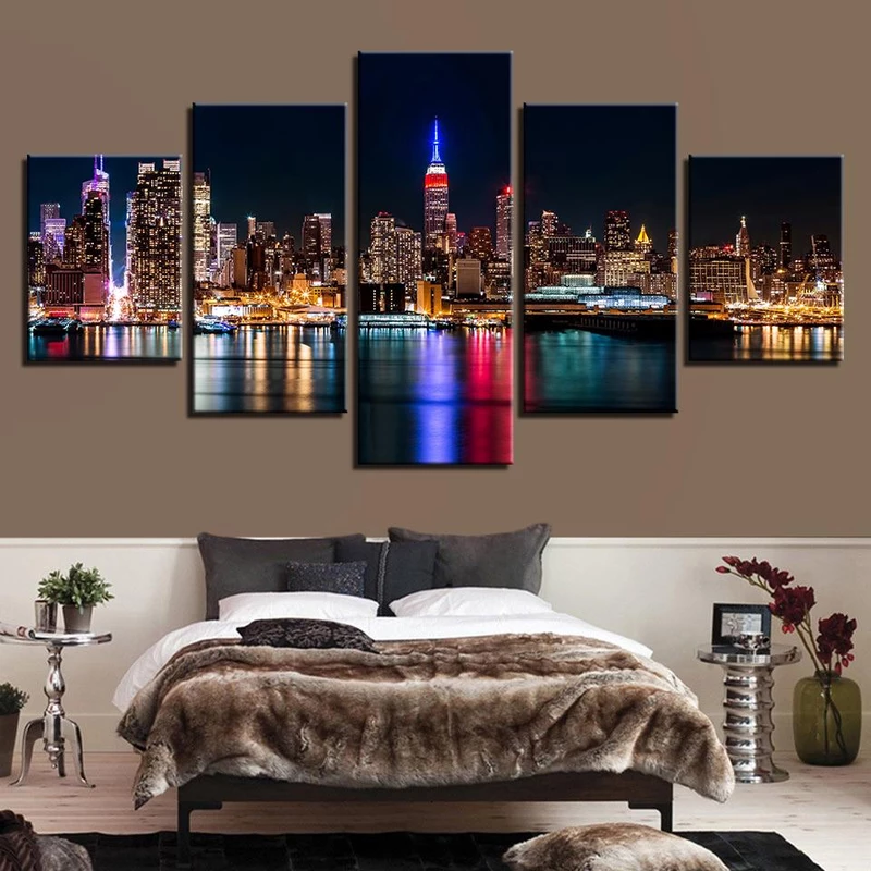 Toronto Skyline At Night 5 Piece Canvas Art Wall Art Picture Painting Home Decor