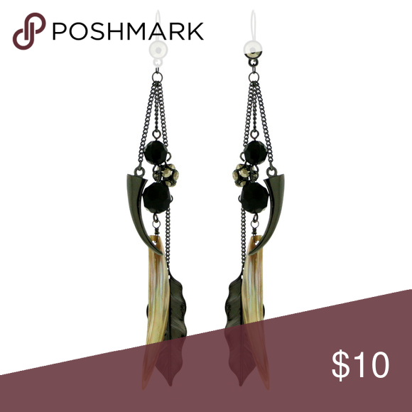 Rhodium Dangle Earrings With Feather Shaped Rhodium Dangle Earrings With Feather Shaped And AB Finish Faceted Accents TME1209 Mi Amore Jewelry Earrings