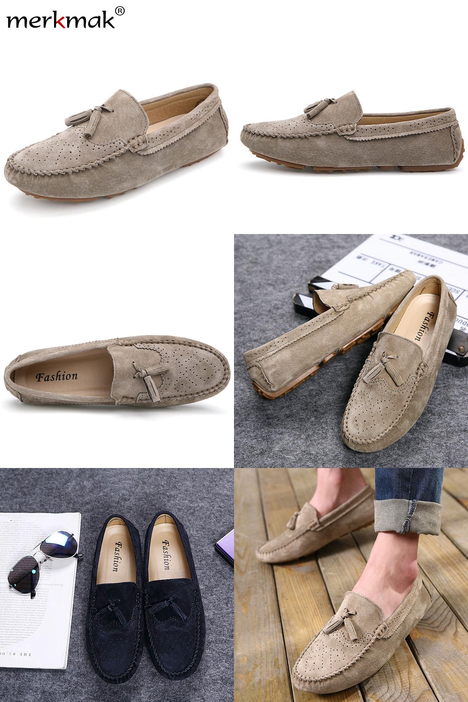 df5a47d4d6d  Visit to Buy  New 2017 Men Casual Suede Loafers Genuine Leather Spring  Autumn Driving