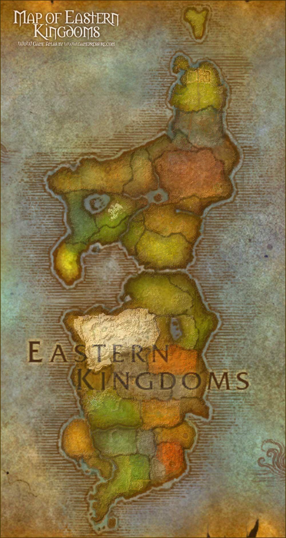 Map of Eastern Kingdoms World of Warcraft Mapa