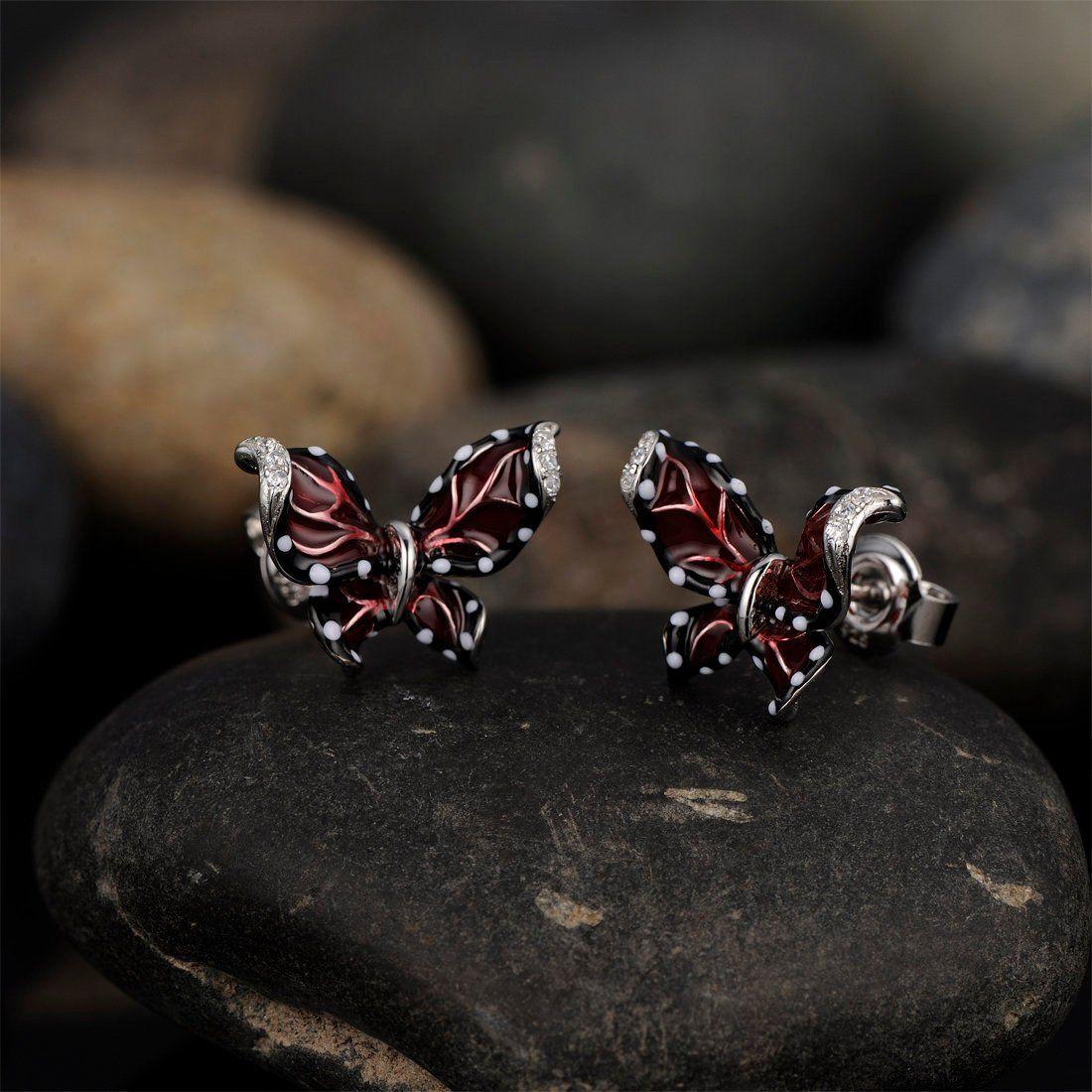 925 Sterling Silver Butterfly Ear Studs So Chic Jewels