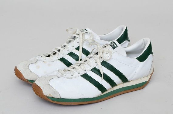 info for 3fbf7 35982 70s ADIDAS Country Made in France White and Green Leather Tennis Shoes 9  Mens