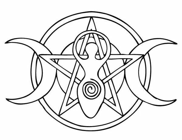 Pentagram, spiral goddess and moon phases == these would