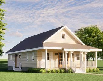 24x32 House 1 Bedroom 1 Bath 768 sq ft PDF Floor Plan Instant Download Model 1