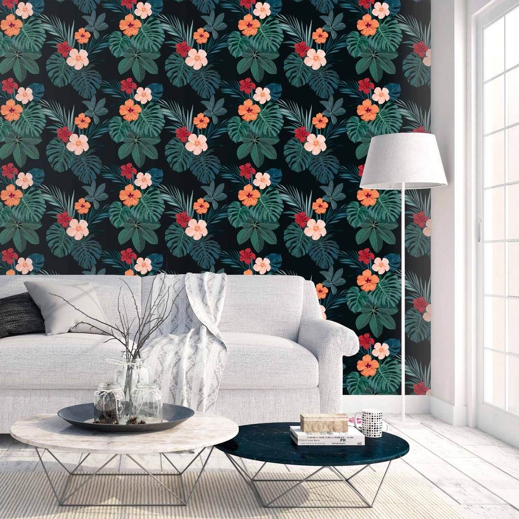 Hawaii At Night Peel Stick Wallpaper Temporary Wallpaper Removable Wall Stickers