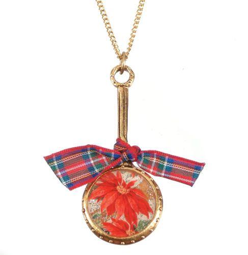 John Wind Necklace Christmas Poinsettia Gold New Maximal Art Jewelry