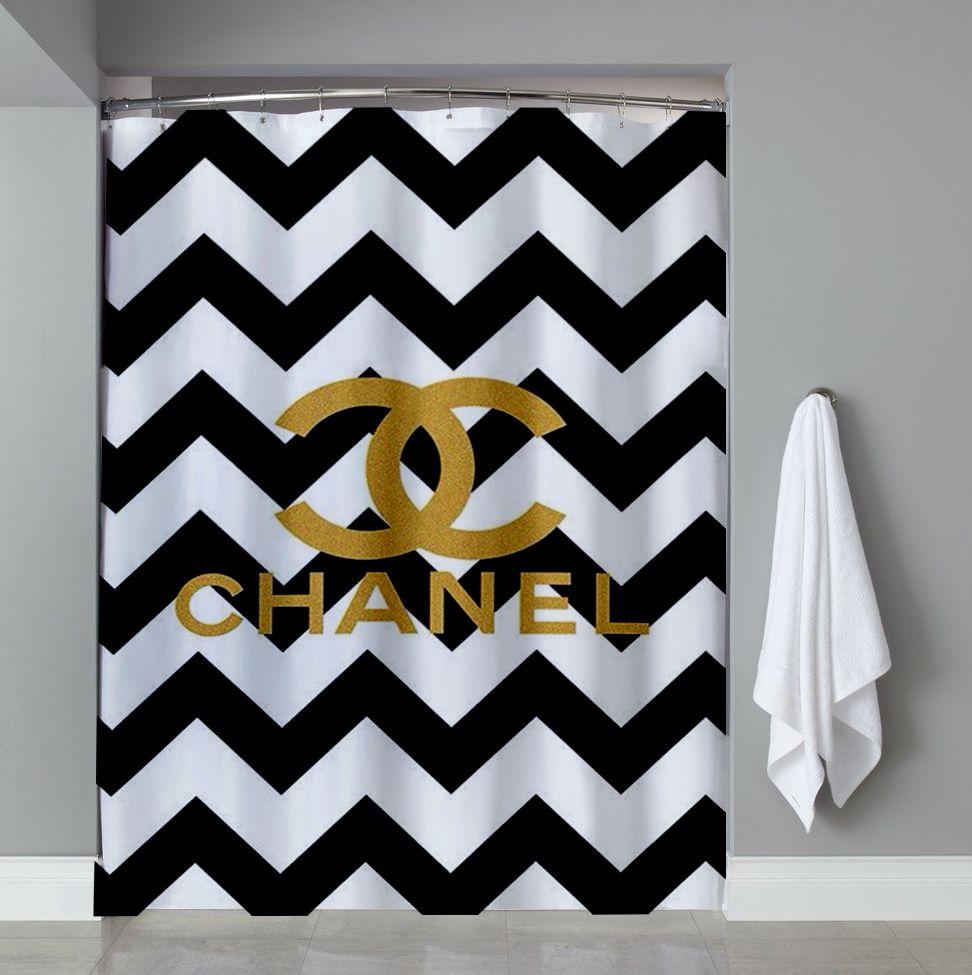 Chevrond Coco Chanel Shower Curtain Design Vintage Custom Gift Birthdays Present Fashion Favorites Home Living New Hot Super Rare Bathroom Bath Up