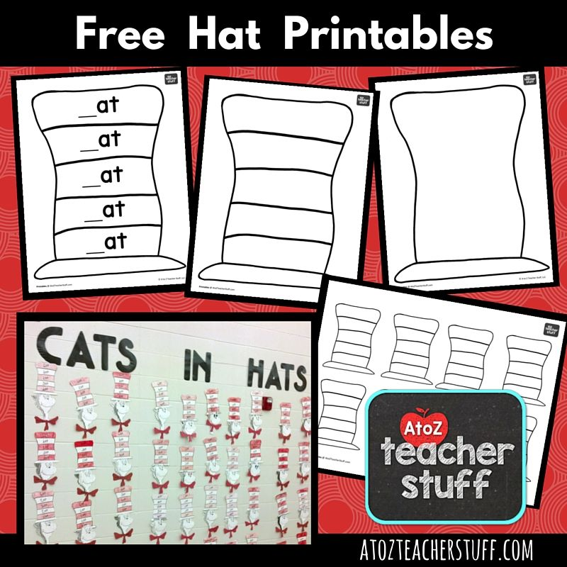 Hat Printables for Dr. Seuss, Cat in the Hat, or Just Hats! | A to Z ...