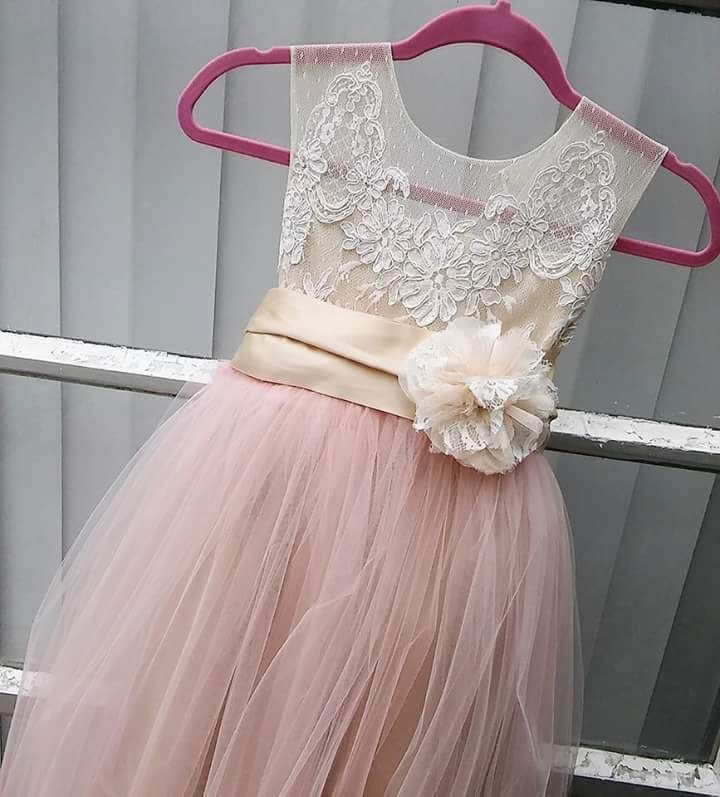 096ac3d4660 Flowery Lace Bodice with Pink Tulle A-Line Skirt for Flower Girl Dress