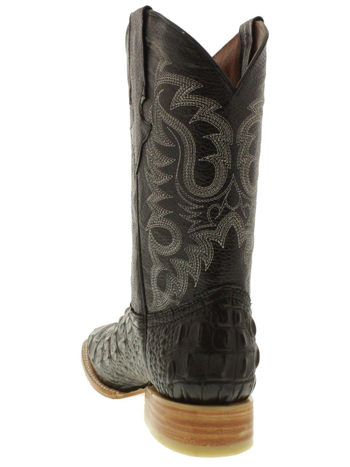 dd6433452e4 Men's black crocodile alligator back cowboy boots square toe leather ...
