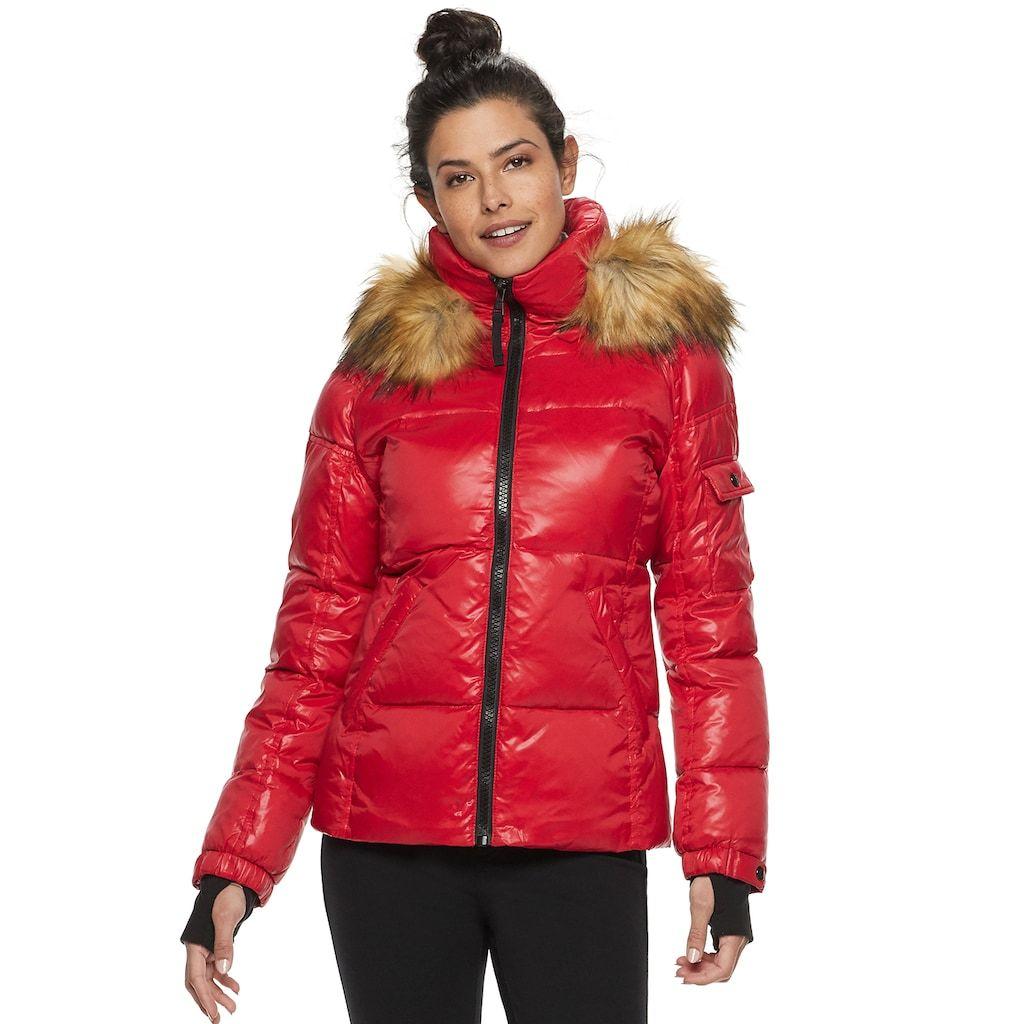 Women S S13 Faux Fur Hooded Glossy Down Puffer Jacket Kohls Puffer Jackets Puffer Coat With Fur Jackets [ 1024 x 1024 Pixel ]