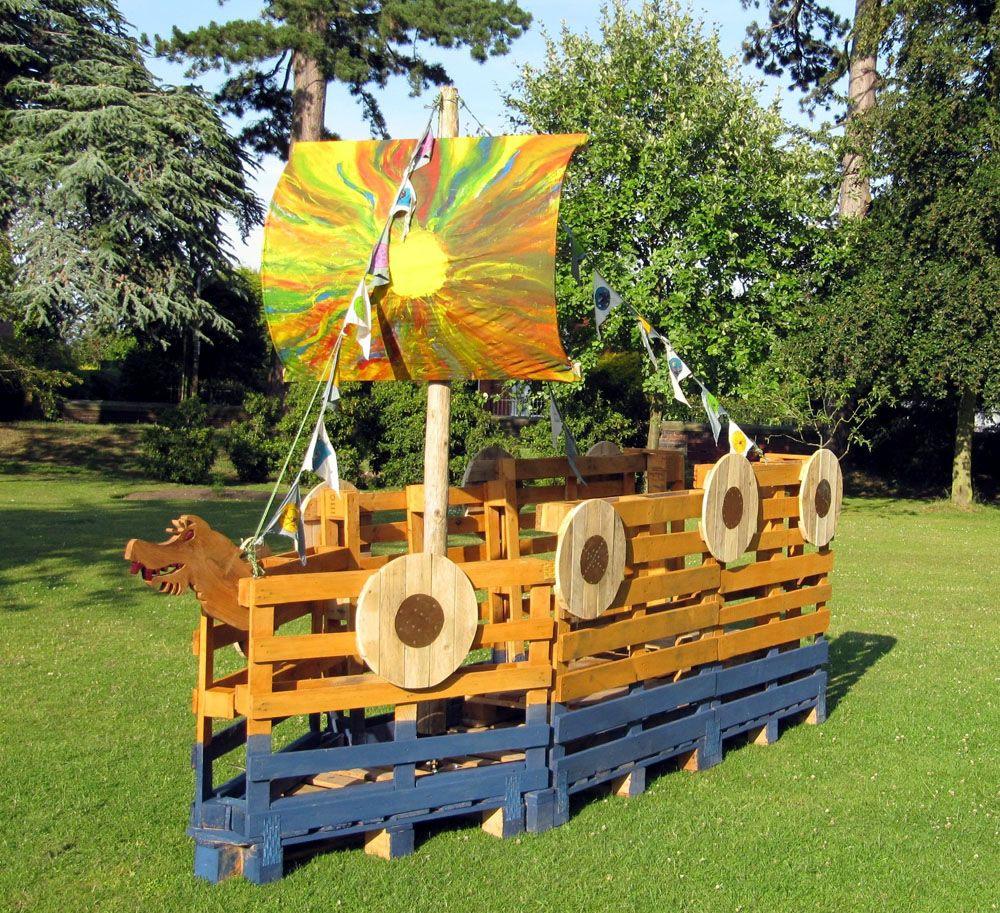 Playground Style Viking Ship Could We Make Our Float Out Of Wood Palettes Diy Spielplatz Naturspielplatz Sandkasten Piratenschiff