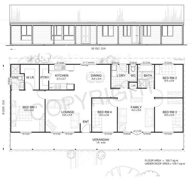 Awesome Pole Frame House Kits #10: Earlwood 4 - Met-Kit Homes - 4 Bedroom Steel Frame Kit Home Floor Plan
