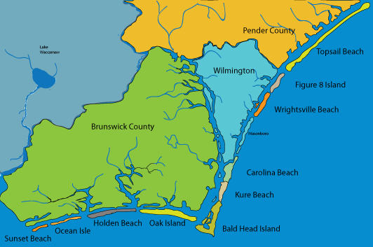 Map Of Wilmington Nc And Brunswick County Find A Beach Home On One The Many Island In Coastal North Carolina