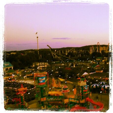 Hershey Park, PA. View from top of ferris wheel at sunset.