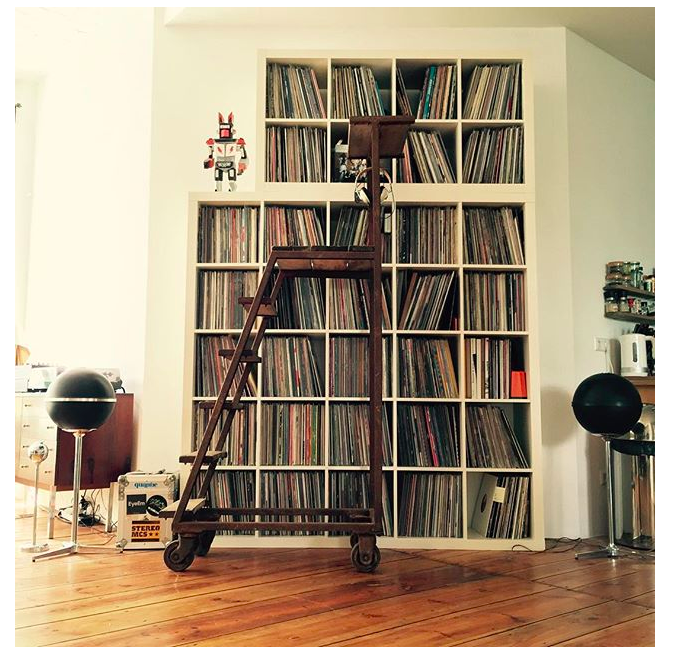 record storage record shelves vinyl collector black gold loft living audiorama movable ladder record collection