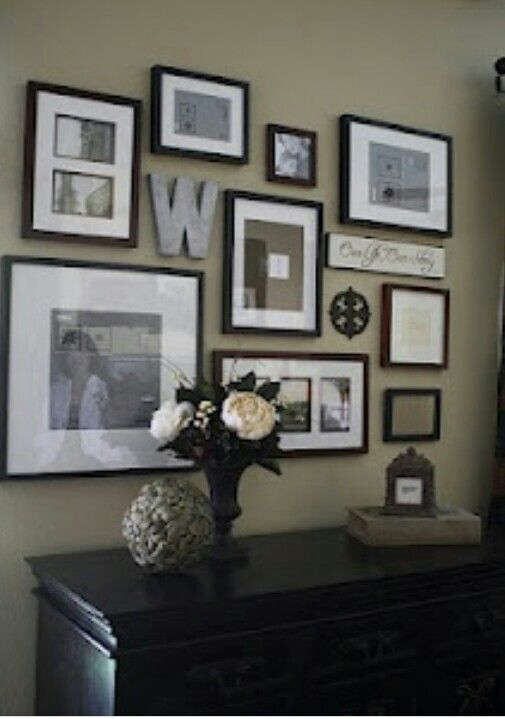 Going To Attempt A Photo Frame Collage Love The Letter In The Middle May Try It With Mine And My Boyfriends Initials Since We Decor Home Decor Frames On Wall