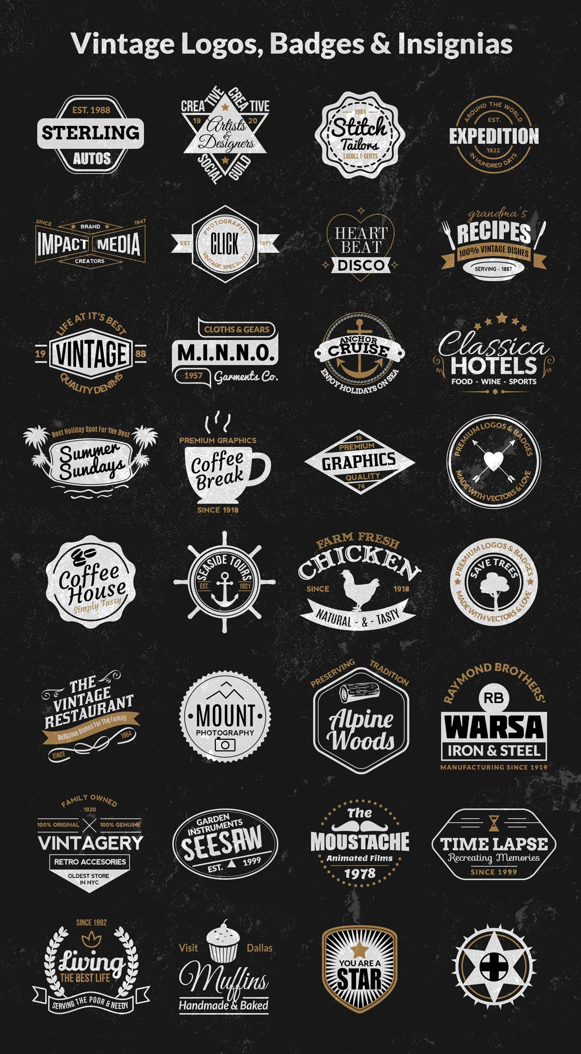 Vintage Logos, Badges, Insignias Kit  Vol 1 is part of Retro logo design, Retro logos, Vintage logo, Vintage logo design, Logo design creative, Branding design logo - This is a vintage logos, badges and insignias kit with 50% off right away  Apart from the discounted price, you'll get an additional pack of 32 logos and badges created using the kit  Use this kit to create your next vintage logo or badge or use our premade logo templates included with this kit  What you'll get 32 Premade logos & badges (Color and black & white, total 64) 53 Badge Elements 70 Icon Elements 6 Bonus Textures Multiple file formats  Ai,  EPS,  PSD,  CSH,  JPEG (textures) All elements are vector based and the text is editable as weel  Additionally, I have included PSD Custom Shapes ( CSH) for all the elements, so it will be super easy for you to just get started with the kit  The details of the free fonts used in the work are included in the readme text file  Uses of the kit There are multiple uses of the kit  You can create classic vintage logos, badges, labels, insignias, typographic content, business cards, clothing, posters, websites and banner and many more   Uses are numerous, you only have to use your imagination  Total value for your money!! Commercial License $9 Regular Price $18 (50% Off) Payment via Paypal Format  ASL,  PSD Download Size 49 3 MB (zip) License