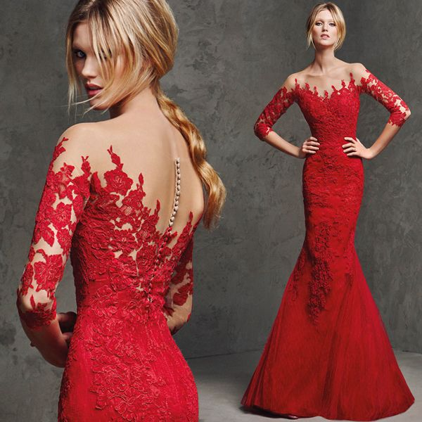 120189a717c Half sleeve mermaid evening party dress Chinese red lace bridal wedding gown