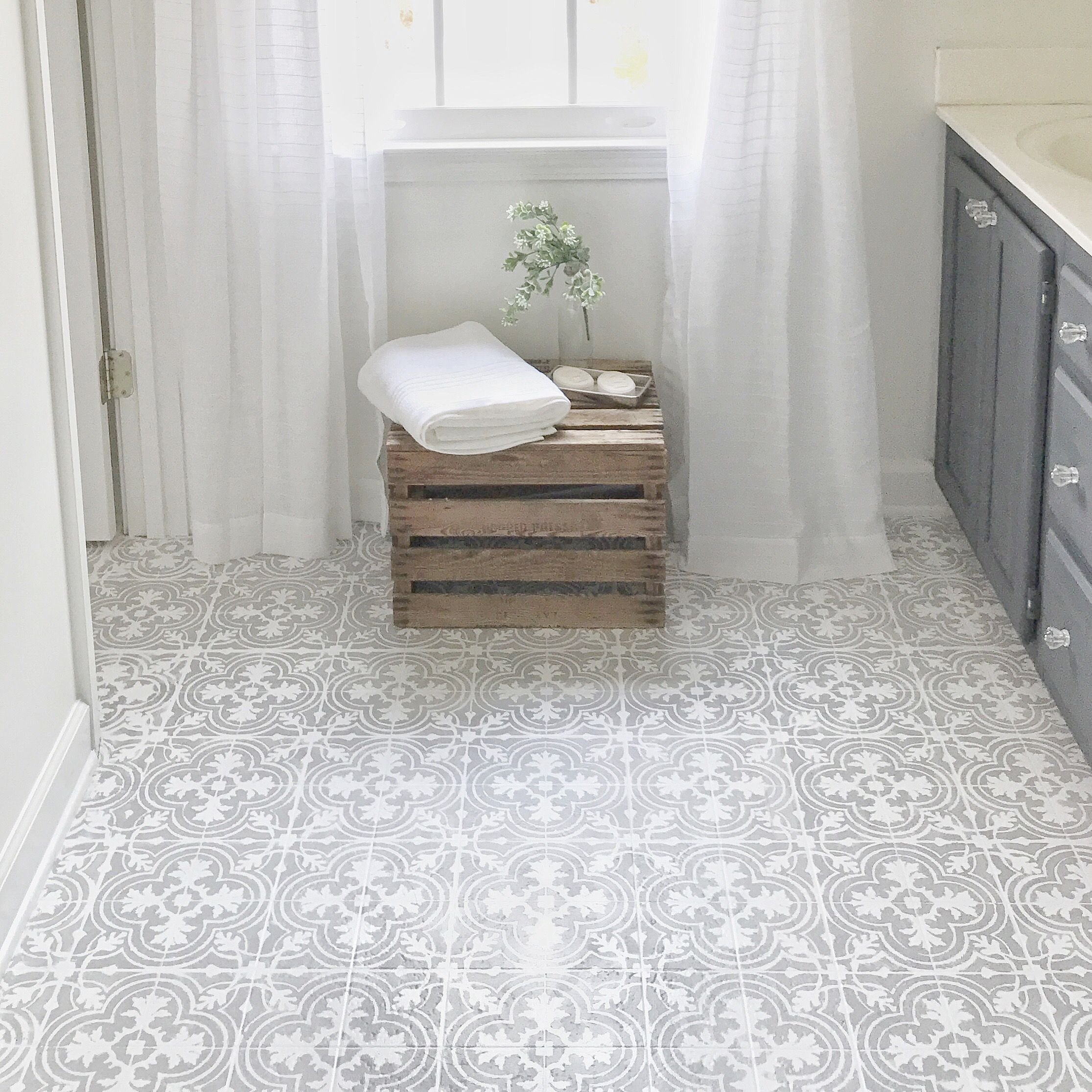How to paint your linoleum or tile floors to look like for Patterned linoleum tiles