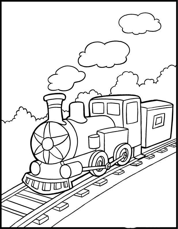 Steam Train That Was Crossing The Forest Trains Coloring Pages