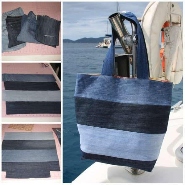 14 magnifiques sacs diy r aliser avec des vieux jeans. Black Bedroom Furniture Sets. Home Design Ideas