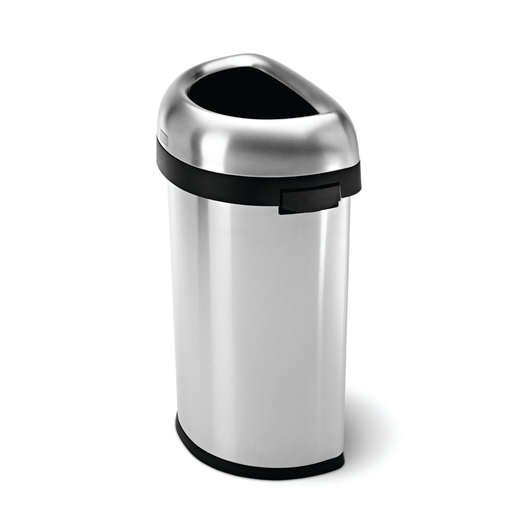 Simplehuman Brushed Stainless Steel 16 Gallon Semi Round Open
