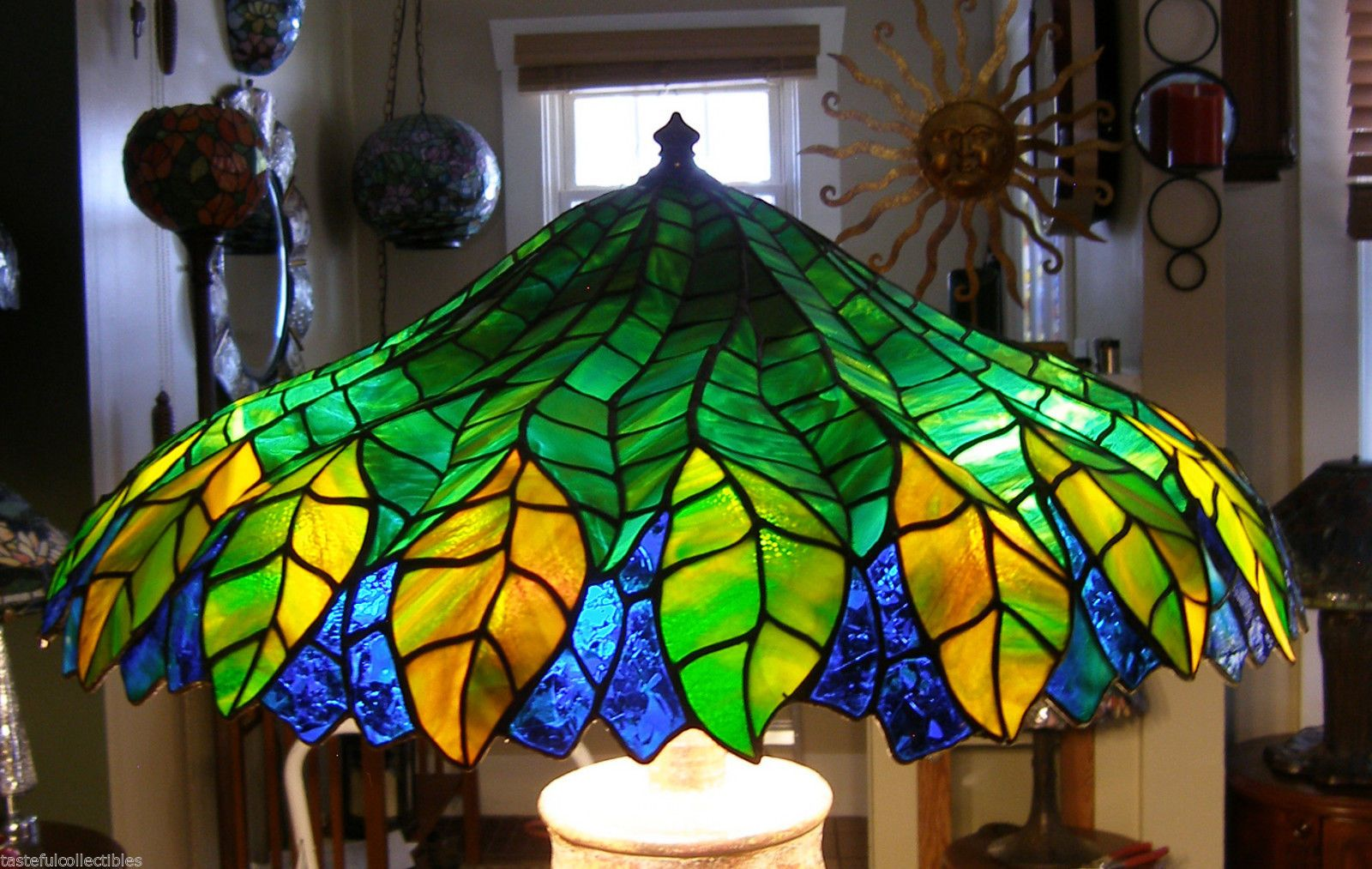 Tiffany Reproduction Stained Glass Lamp Shade 24 Pleated Leaf By