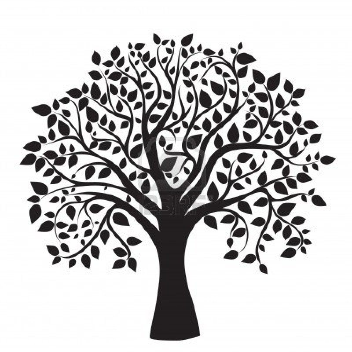 black tree silhouette isolated on white background, vector ...