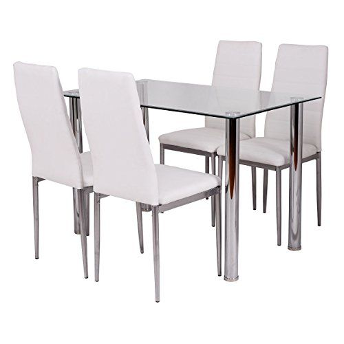 Tangkula 5 PCS Dining Table Set Glass Table and Metal Chairs Home