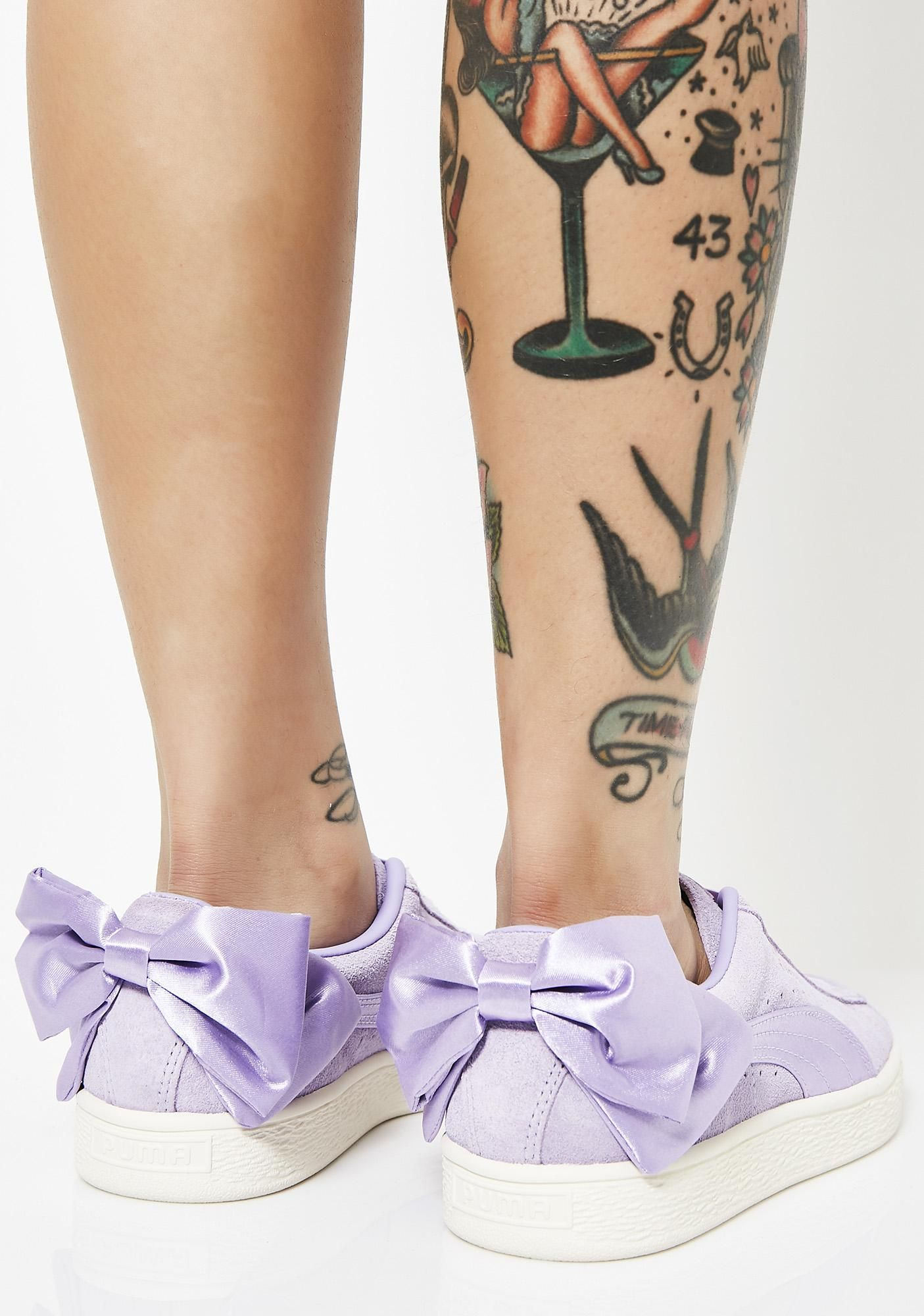 Purple Rose Suede Bow Sneakers | Wish List | Bow sneakers