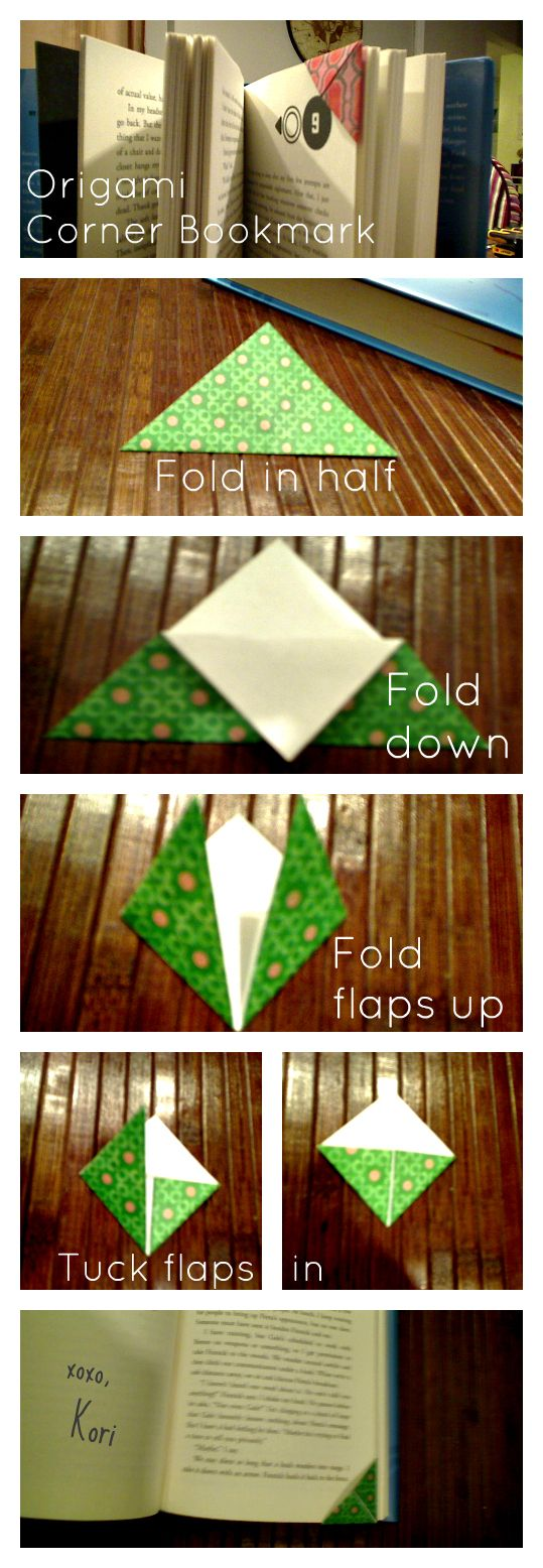 Simple Origami Corner Bookmark. I use these all the time, no more dog earring the pages!