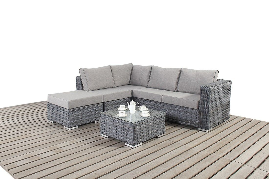 Bonsoni Small Corner Sofa Colour Grey Consists Of Two Modular Two Seater Sofas And A Footstool Rattan Rattan Corner Sofa Corner Sofa Set Small Corner Sofa