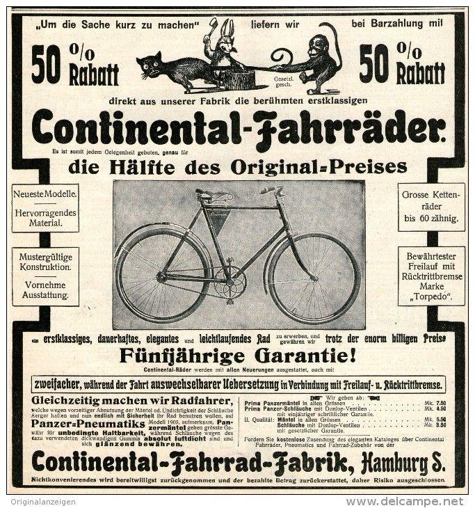 Original Werbung Anzeige 1905 Continental Fahrrader Ca 180 X