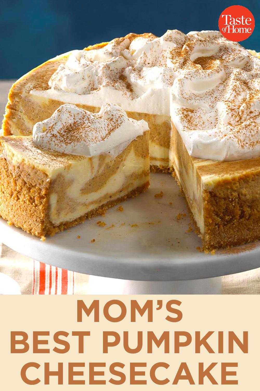 Mom's Best Pumpkin Cheesecake #cheesecakerecipes