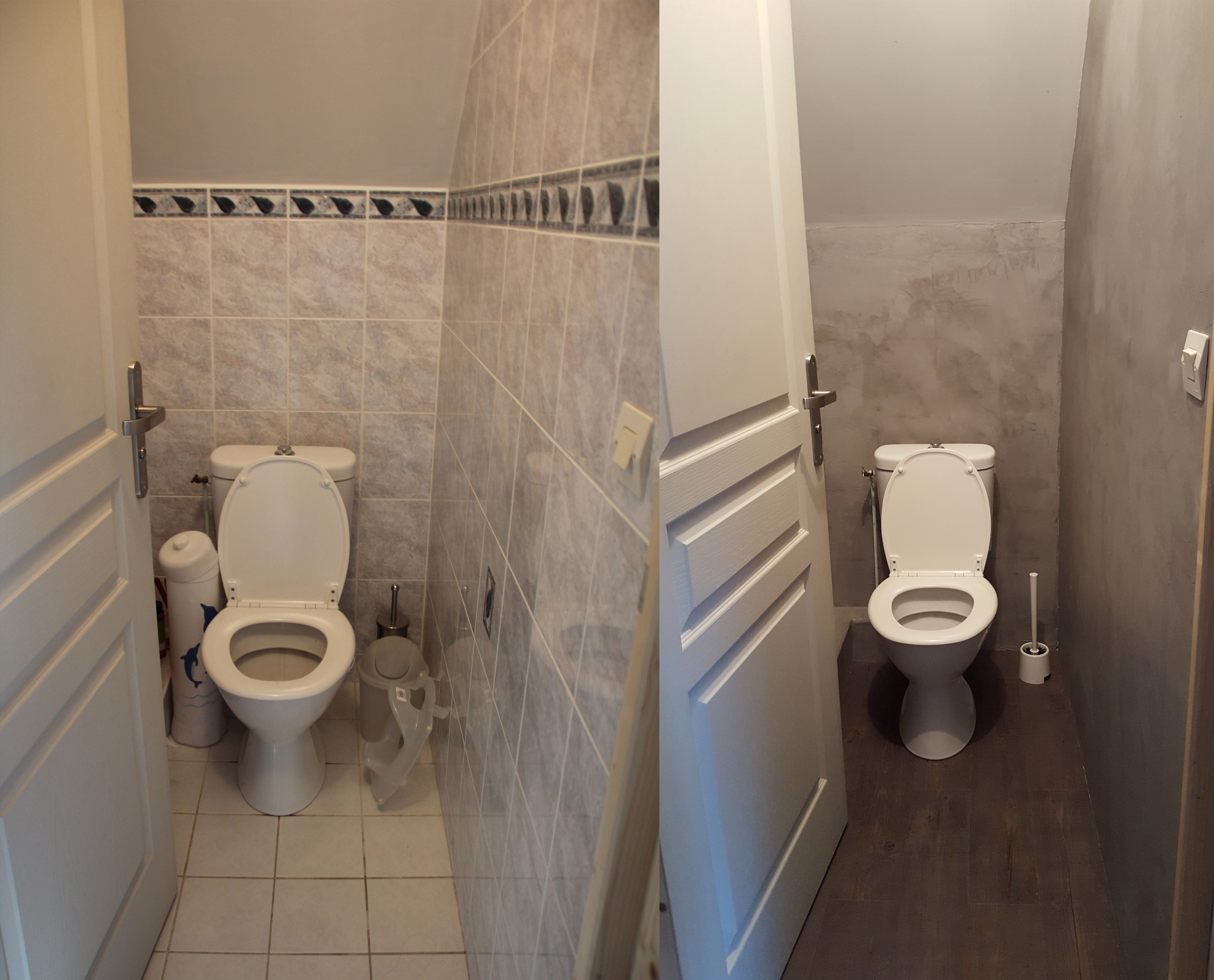 Avant Apres Wc Toilettes Design Moderne Beton Renovation Resine Faux Parquet Dalles Leroy Merlin Resinence Beton Avant Apres Wc Toilette Design