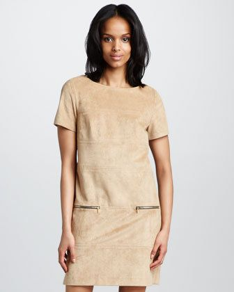 Phoebe Couture Suede Shift Dress thestylecure.com