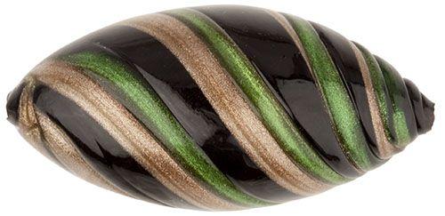 Murano Glass Bead Green Black Large Missoni Oval 34mm