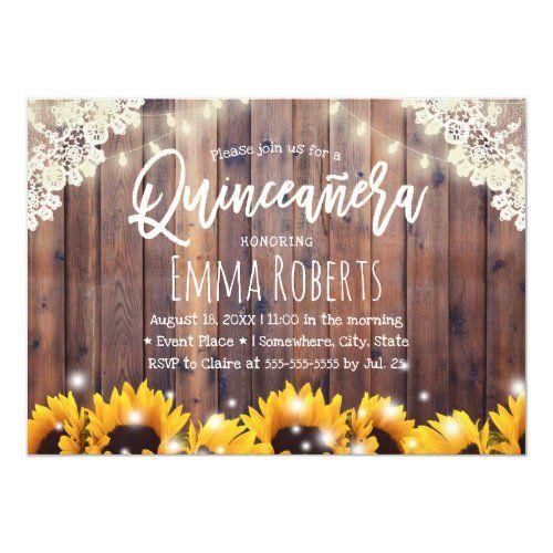 Rustic Sunflowers & String Lights Quinceanera Invitation | Zazzle.com #sweet16birthdayparty